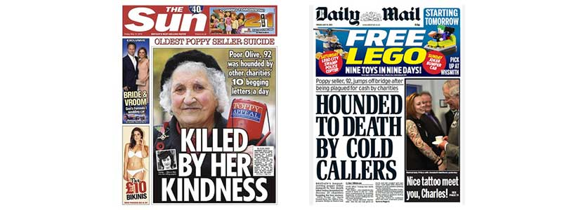 The Sun and The Daily Mail link Olive Cooke's death to charity fundraising appeals