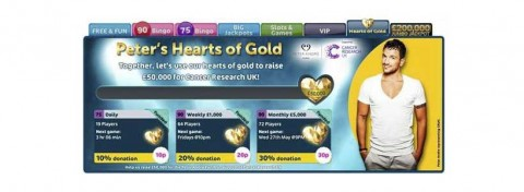 Peter Andre's Hearts of Gold bingo game for CRUK