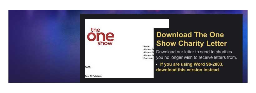 bbc s the one show offers don t contact me letter to charities for