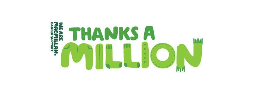 Thanks a million, says Macmillan Cancer Support