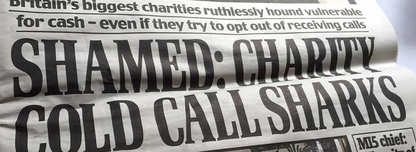 Shamed: charity cold call sharks (Daily Mail front page headline on 7 July 2015)