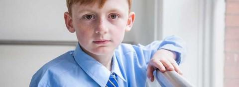 Manchester boy in school uniform