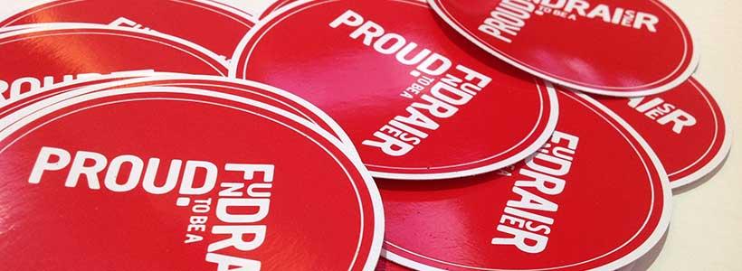 Proud fundraiser badges at IoF National Convention - photo: Howard Lake