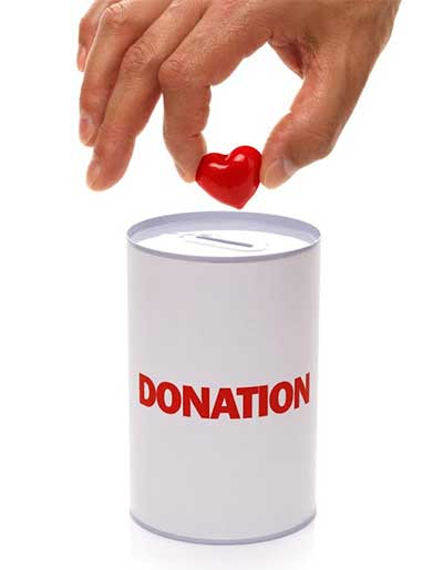Putting a heart in a collecting tin