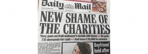New shame of the charities - Daily Mail front page on 1 September 2015