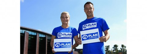 Chelsea Football Club captains Katie Chapman (Ladies) and John Terry supporting Chelsea's global partnership with Plan International