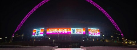 Wembley Stadium in Breast Cancer Care's colours