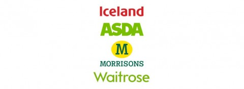 Iceland, Asda, Morrisons and Waitrose logos