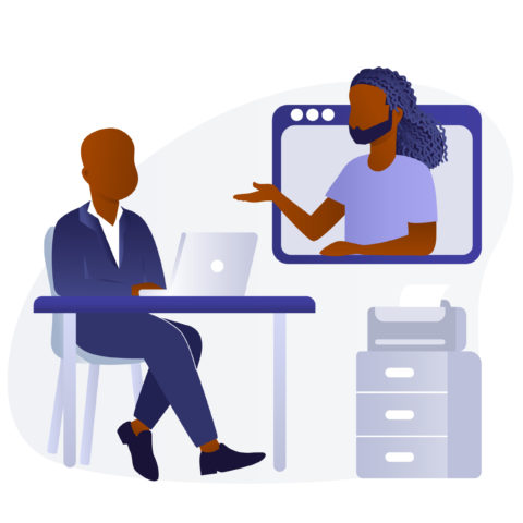 Two black men in an office video chat -source: black.illustrations