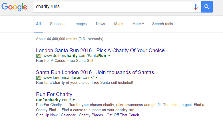 Example of Google Adwords For Charities
