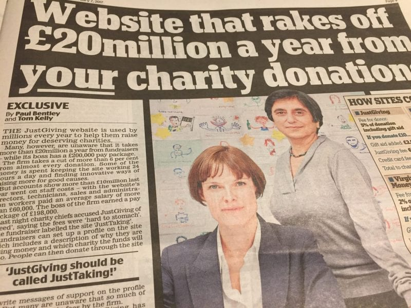 Daily Mail article on JustGiving (6 February 2017)