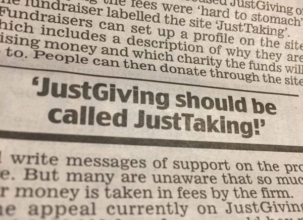Daily Mail - JustGiving should be called JustTaking - 6 Feb 2017