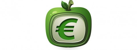 Apple core with euro sign - image; Pixabay