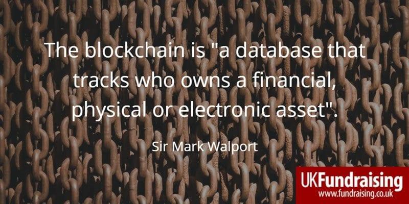 Sir Mark Walport's quotation on the blockchain