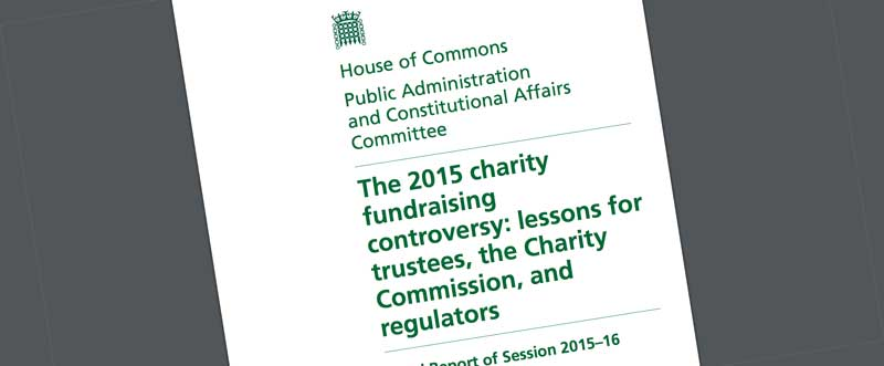 PACAC charity fundraising controversy 2015 report - front cover