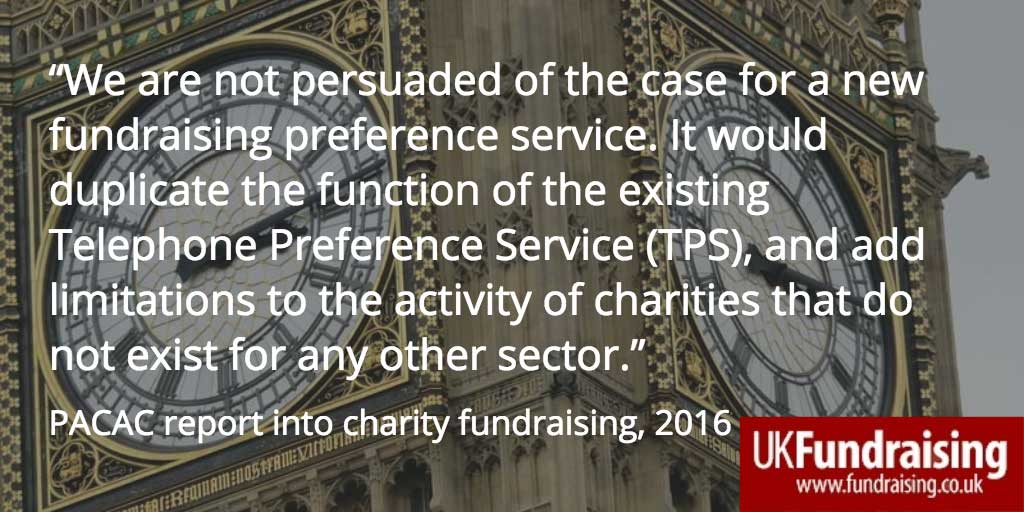 PACAC on fundraising preference service - quotation