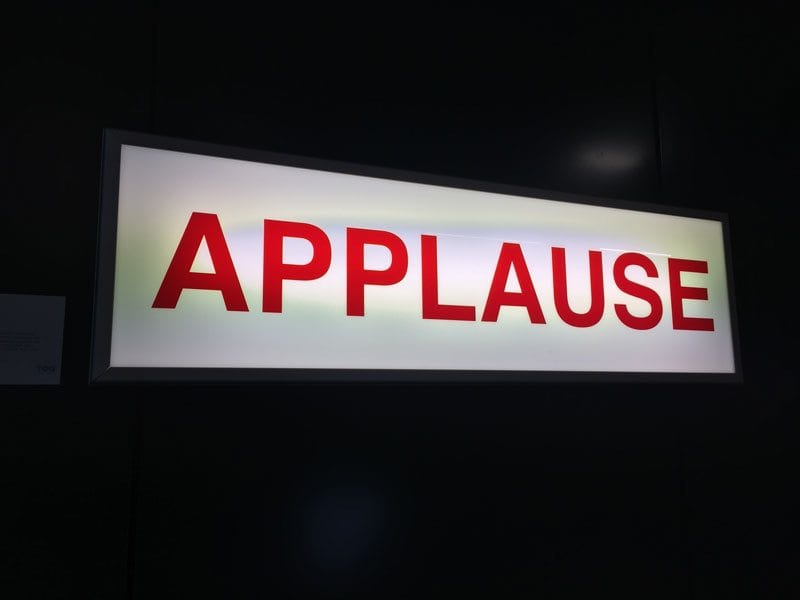 Old BBC studio 'Applause' sign in reception at Pinterest UK