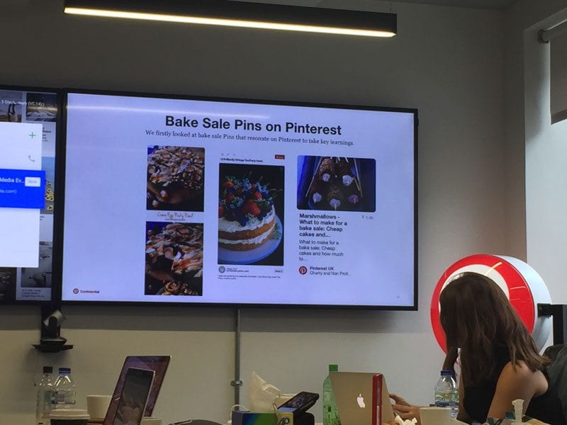 Slide at Pinterest UK showing Comic Relief's Bake Sale board on Pinterest