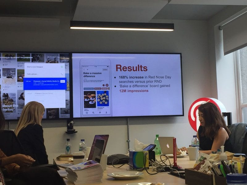 Slide at PInterest UK showing Red Nose Day's results on Pinterest for 2017 campaign