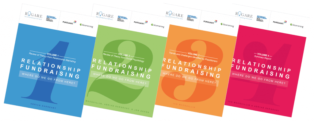 Four volumes of Rogare's relationship fundraising review.