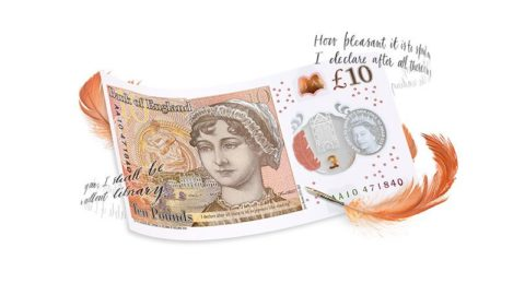 Jane Austen £10 note. © Bank of England [2017].
