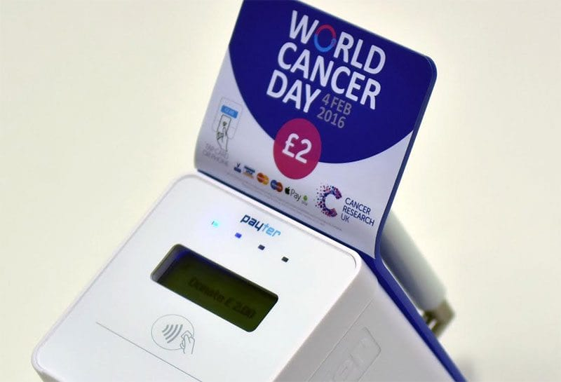Cancer Research UK contactless donation terminal