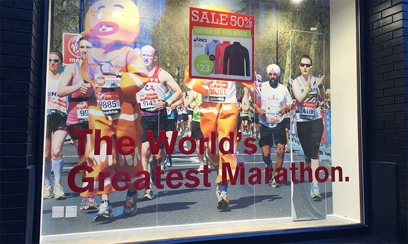 London Marathon shop window