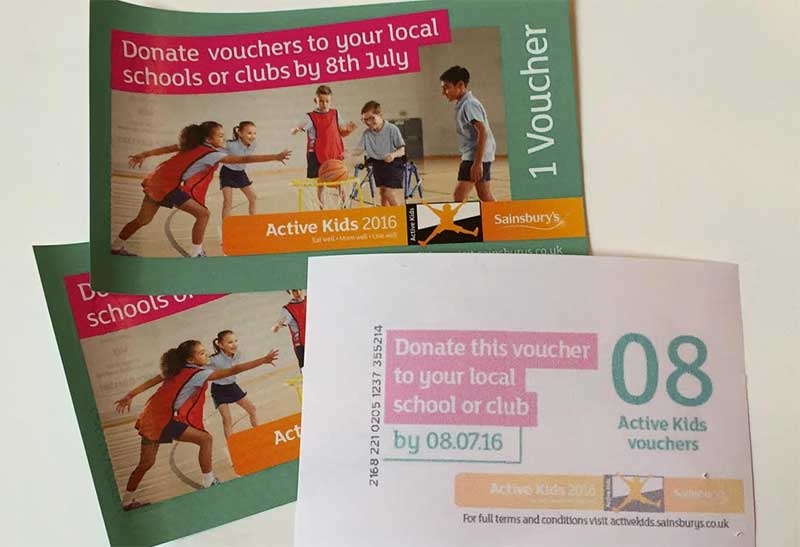 Sainsbury's Active Kids vouchers 2016