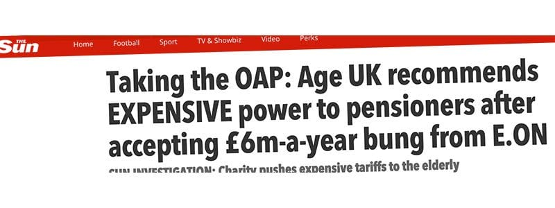 The Sun's online headline about Age UK and E.On