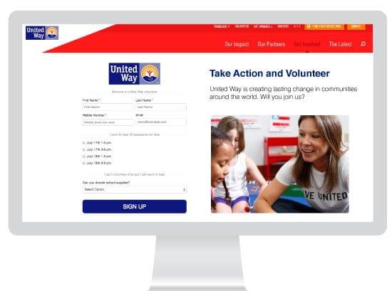 Volunteering campaign screenshot