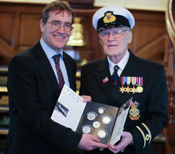 Set of coins to commemorate Merchant Navy seamen