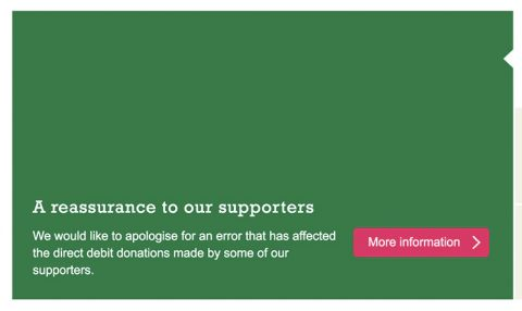 Concern UK front page apology to donors over direct debit errors