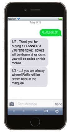 DONATE's raffle by text example - screenshot