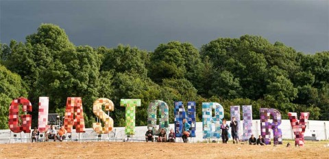 Glastonbury Festival in large letters - photo: Paul D Smith on Shutterstock.com