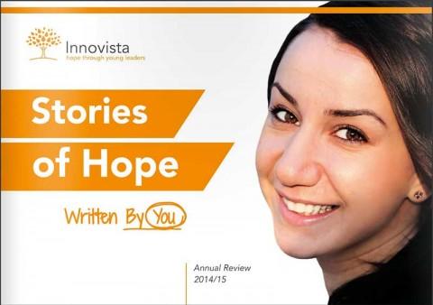 Innovista Stories of Hope Annual Report front cover. Image: Robin Peake/Innovista