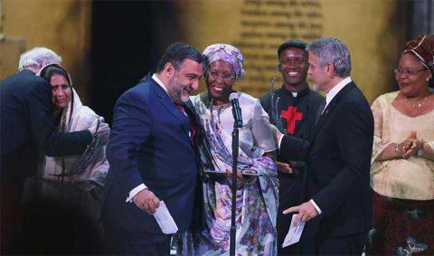 Marguerite Barankitse, Aurora Prize Laureate 2016, with Vartan Gregorian and George Clooney