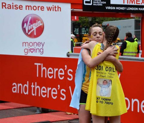 Runners at the end of Virgin Money London Marathon 2016
