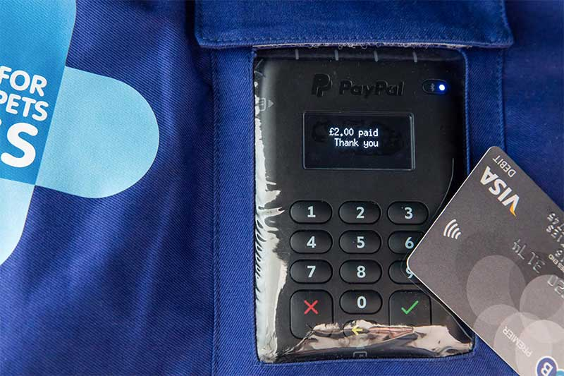 Blue Cross contactless device for Tap Dogs