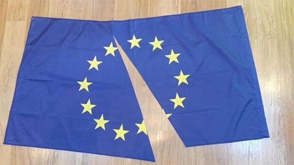 EU flag cut in half