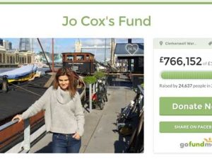 "Jo Cox MP appeal is ""largest and fastest growing UK campaign"" on GoFundMe"