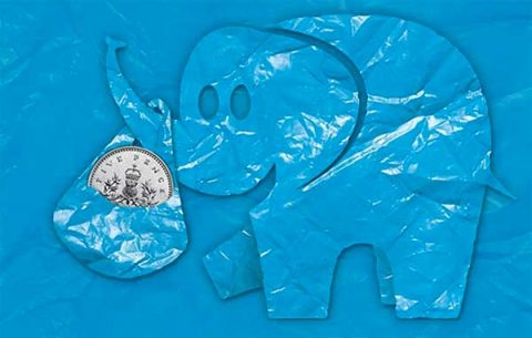 Cleaner Scotland's plastic bag levy elephant mascot