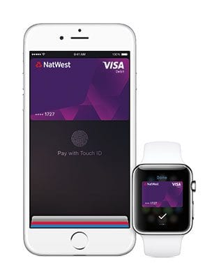 ApplePay on an iPhone6 and Apple Watch, featuring NatWest