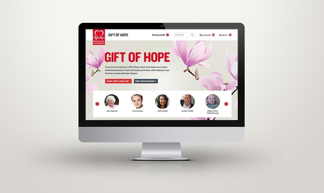 BHF Gift of Hope desktop redesign