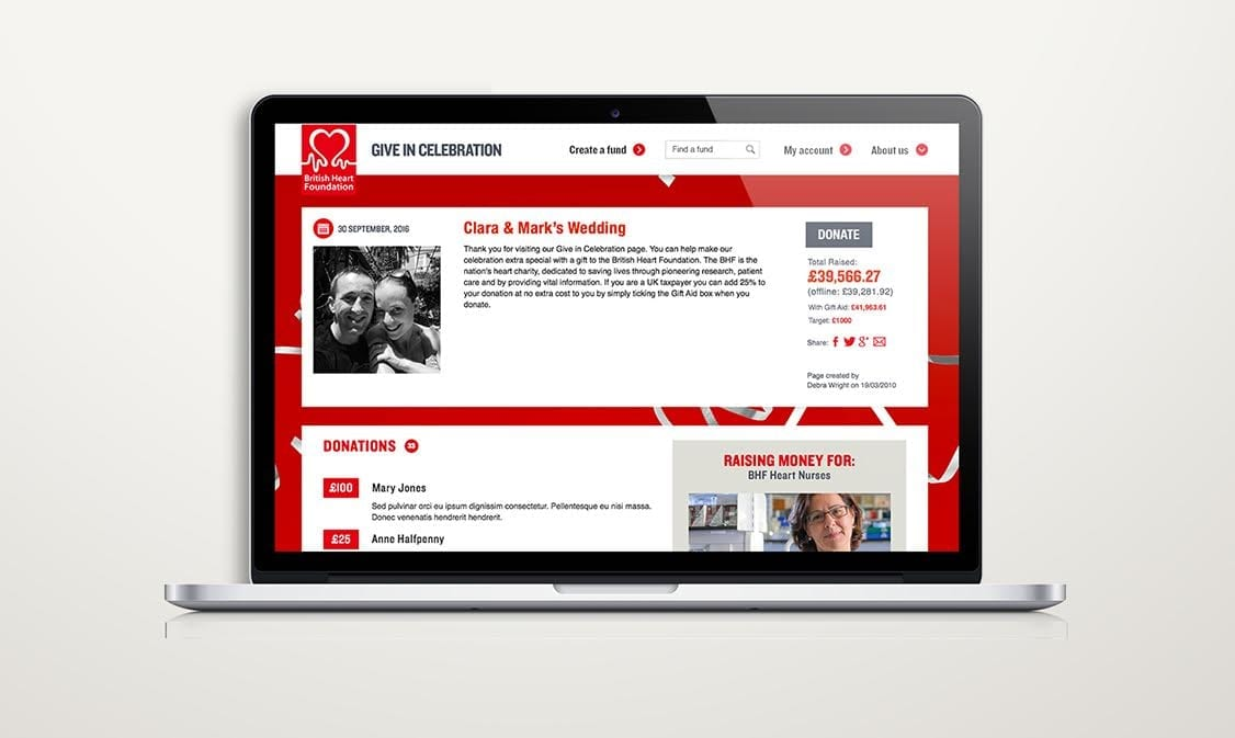 BHF Give in Celebration desktop redesign
