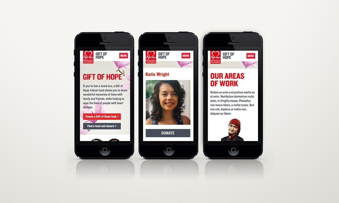 BHF Gift of Hope mobile redesign