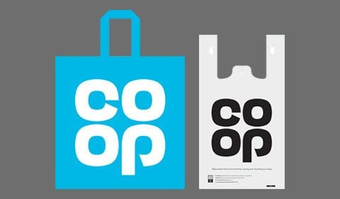 Two different Co-op shopping bags