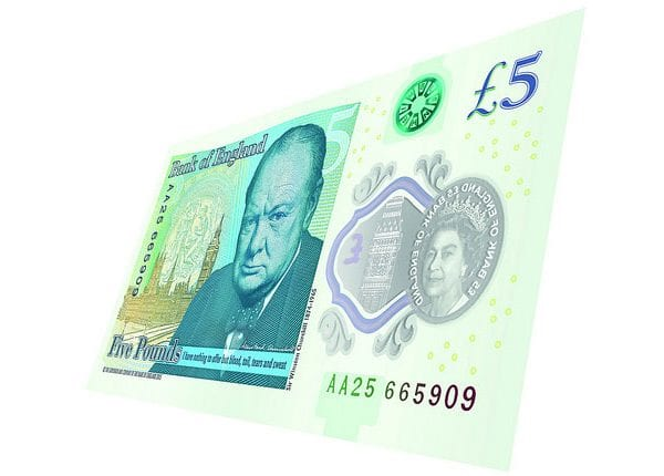 New polymer £5 note featuring Sir Winston Churchill