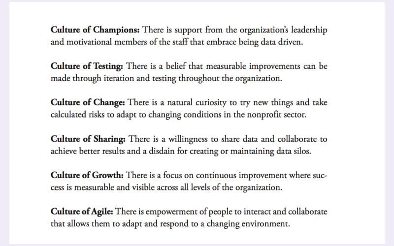 List of organisational culture types from Data Driven Nonprofits