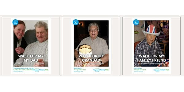 Sample posters from Alzheimer's Society Memory Walk