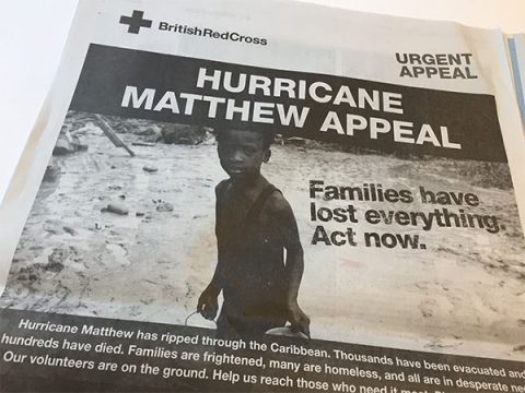 Newspaper advert by British Red Cross for Hurricane Matthew appeal